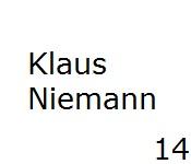 14 Klaus Niemann